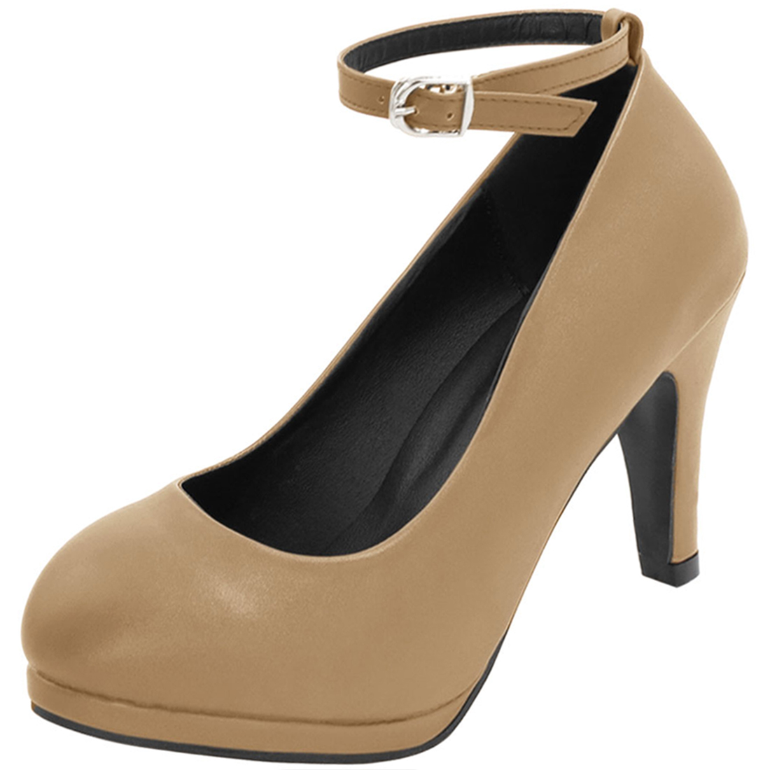 Woman Rounded Toe Mid Heel Length Ankle Strap Pumps Dark Beige US 7