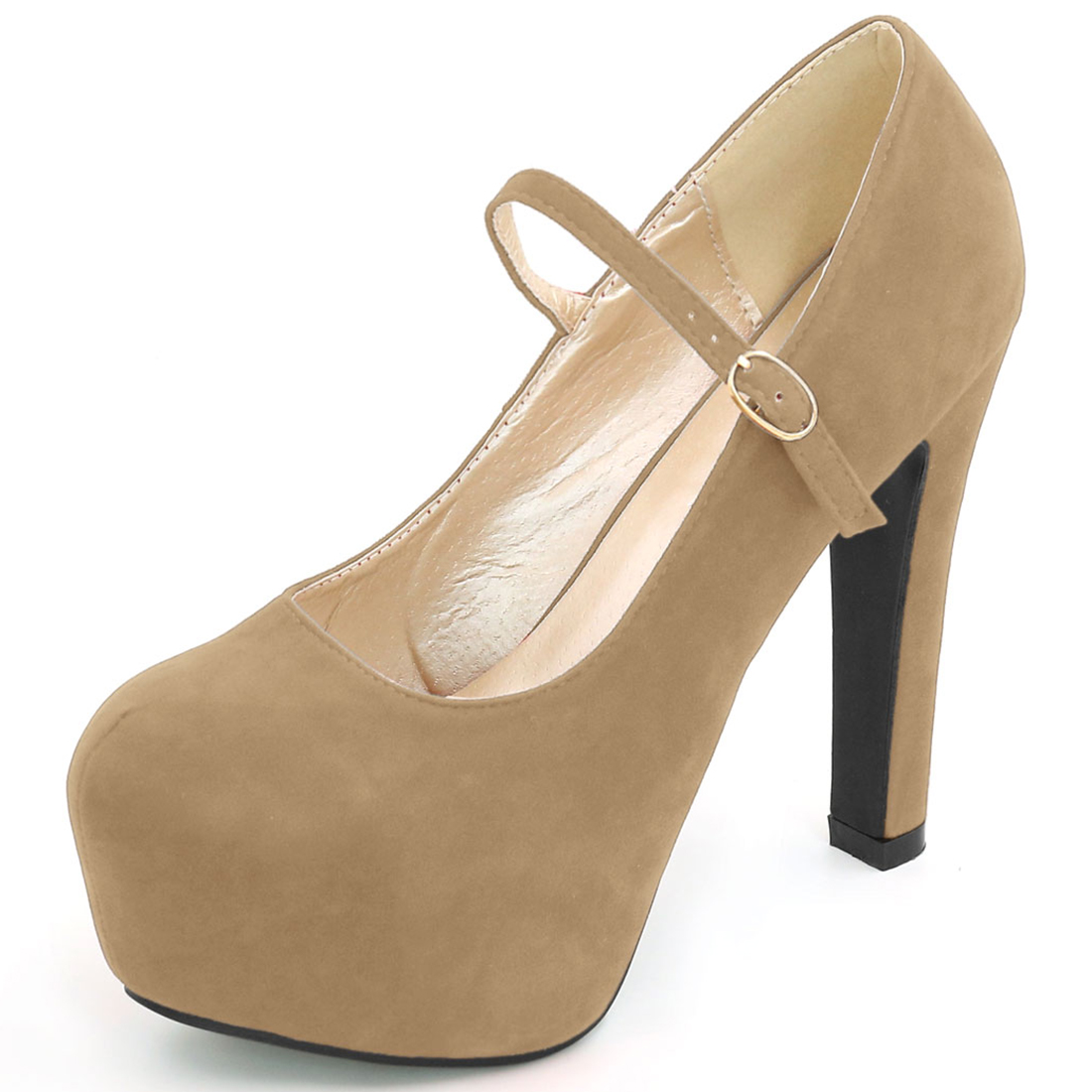 Woman Rounded Toe Chunky Platform Buckle Strap Pumps Dark Beige US 7.5