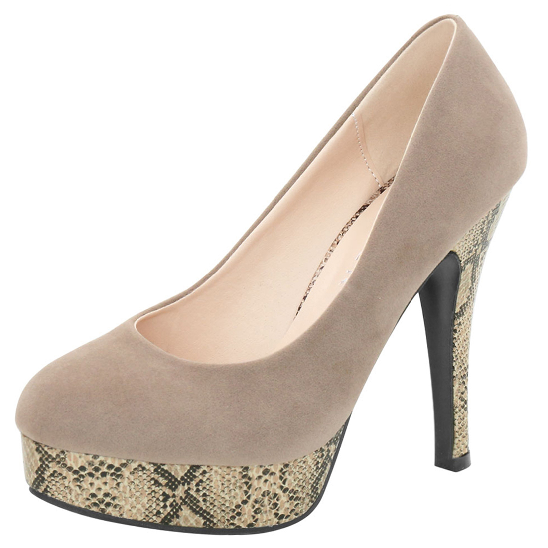 Woman Rounded Toe Snake Effect Stiletto Platform Pumps Taupe US 7.5