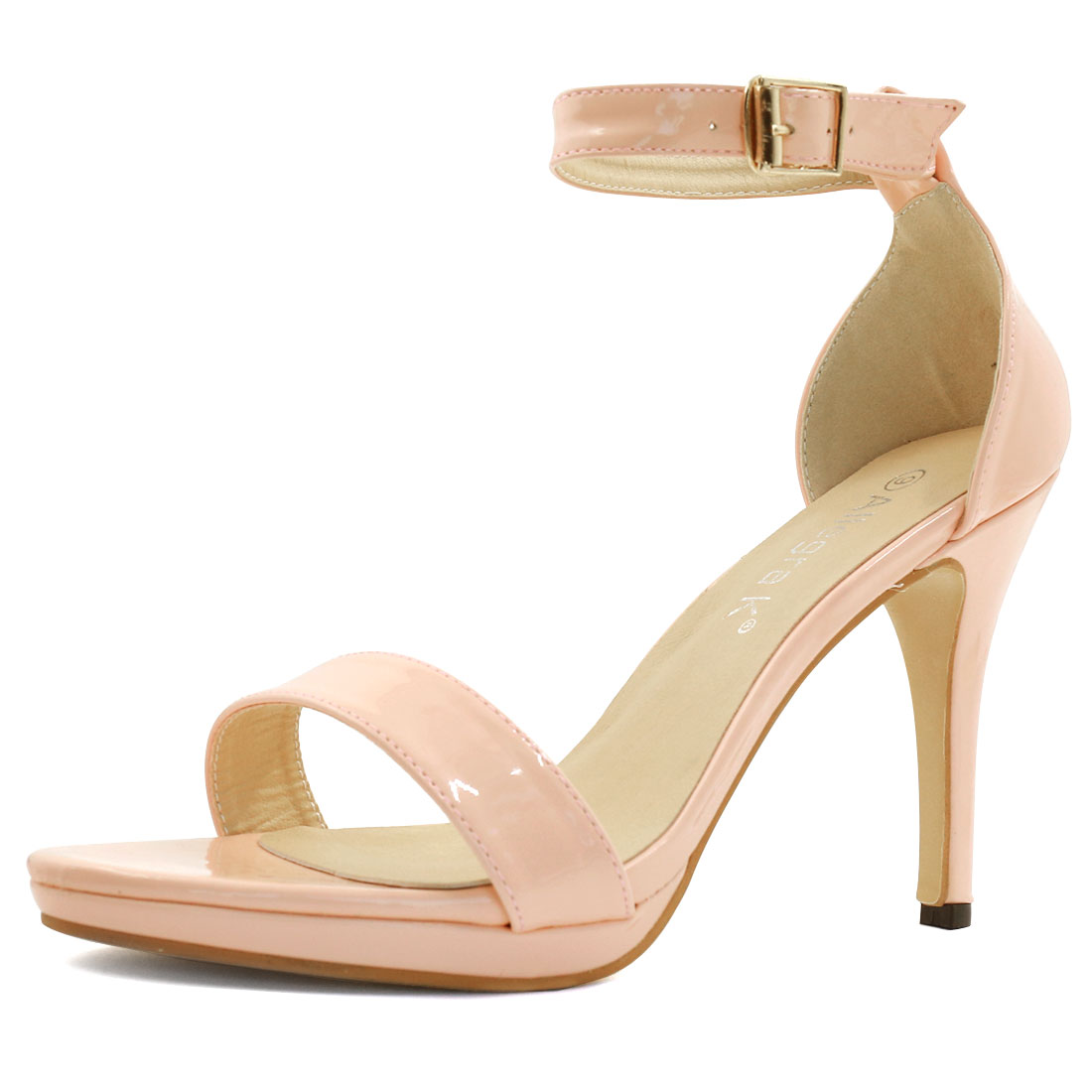 Woman Open Toe High Heel Metallic Ankle Strap Sandals Pink US 8