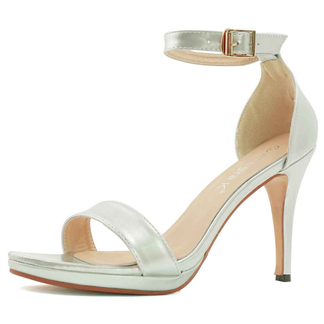 Woman Open Toe High Heel Metallic Ankle Strap Sandals Silver US 7