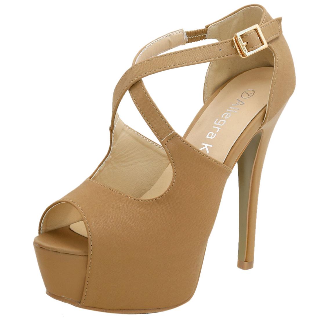 Woman Peep Toe High Heel Crisscross Straps Platform Sandals Tan US 9