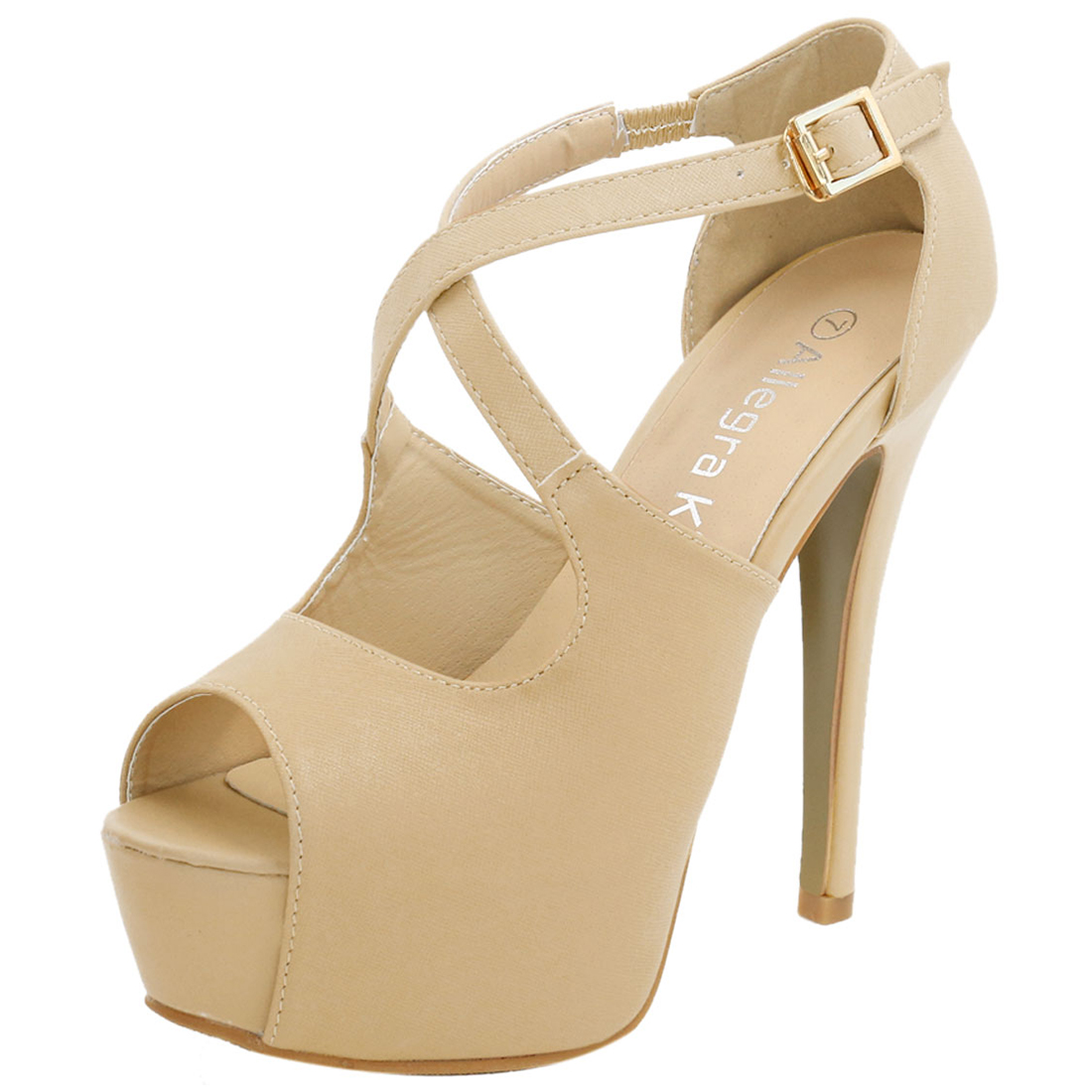 Woman Peep Toe High Heel Crisscross Straps Platform Sandals Beige US 7