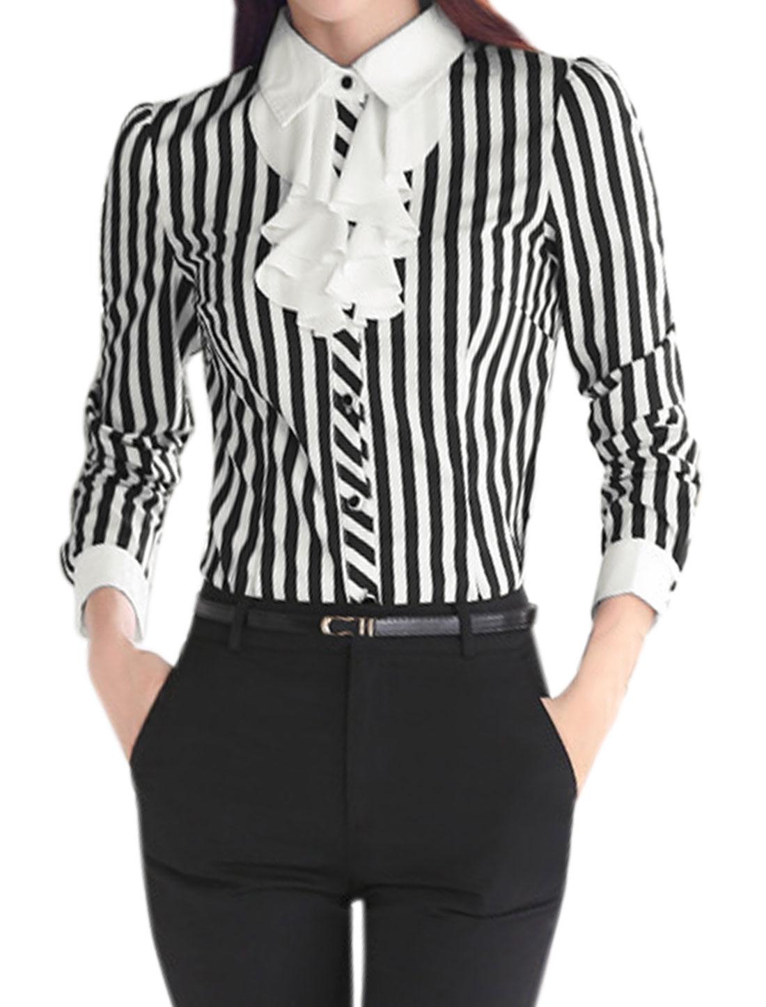 Women Buttoned Ruffled Front Slim Fit Stripes Shirt Black L