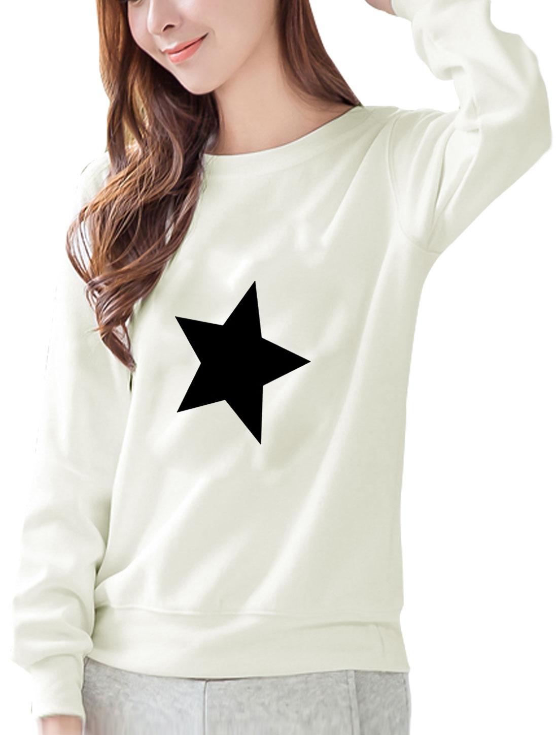 Women Round Neck Long Sleeves Stars Print Sweatshirt White S