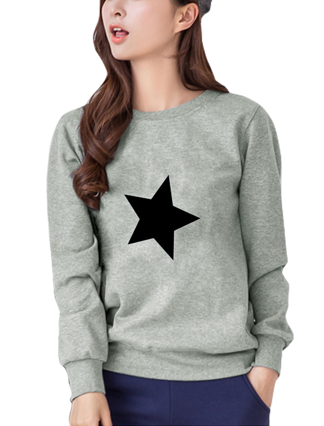 Women Round Neck Long Sleeves Stars Print Sweatshirt Gray S