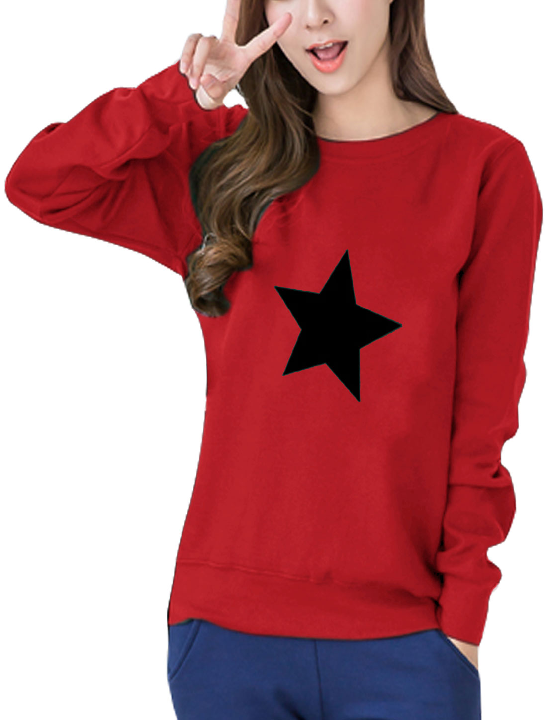 Women Round Neck Long Sleeves Stars Print Sweatshirt Red S