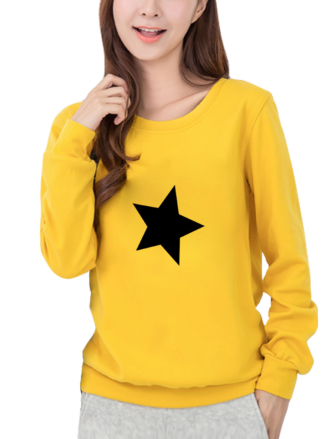 Women Round Neck Long Sleeves Stars Print Sweatshirt Yellow S