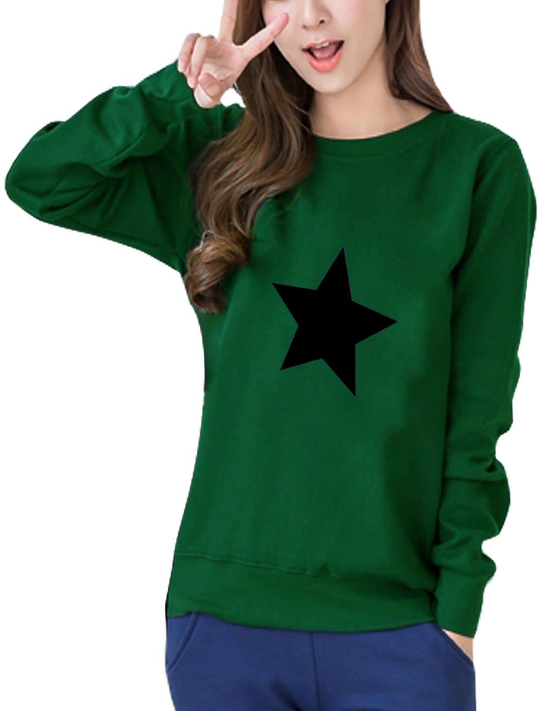 Women Round Neck Long Sleeves Stars Print Sweatshirt Green S