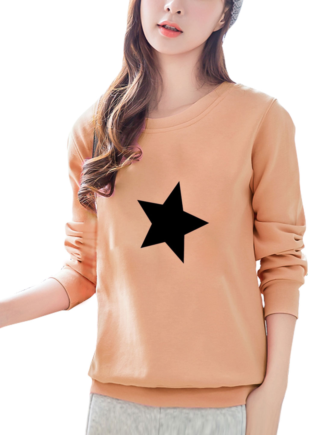Women Round Neck Long Sleeves Stars Print Sweatshirt Pink S