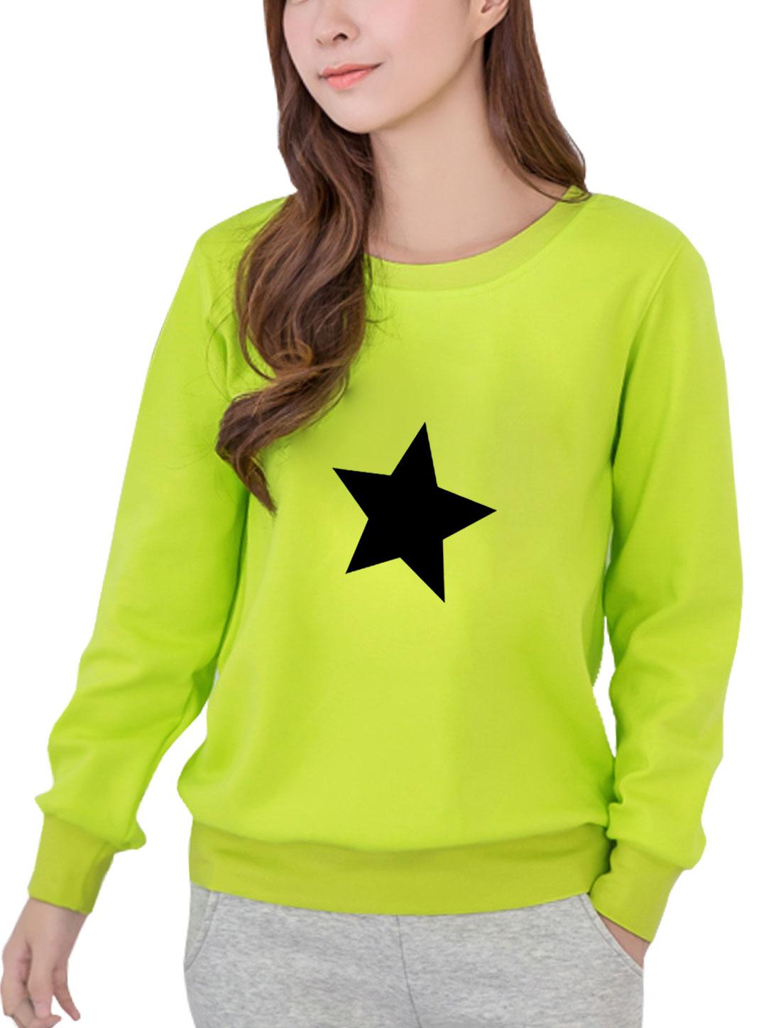 Women Round Neck Long Sleeves Stars Print Sweatshirt Lime S
