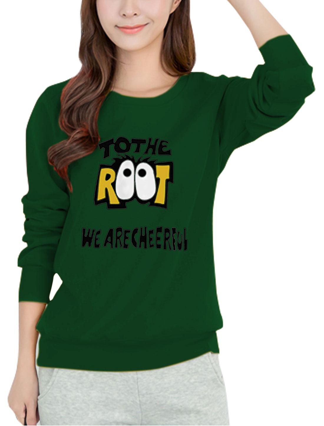 Women Round Neck Long Sleeves Eyes Letters Sweatshirt Green S