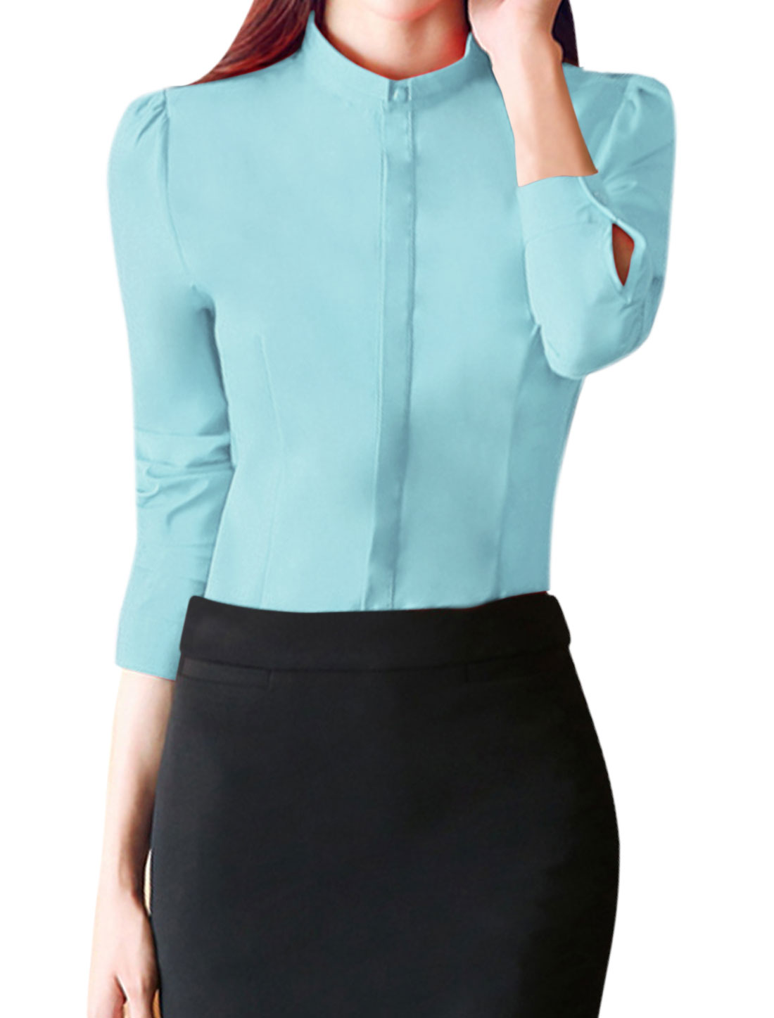 Women Turn Down Collar Single Breasted Slim Fit Shirt Blue L