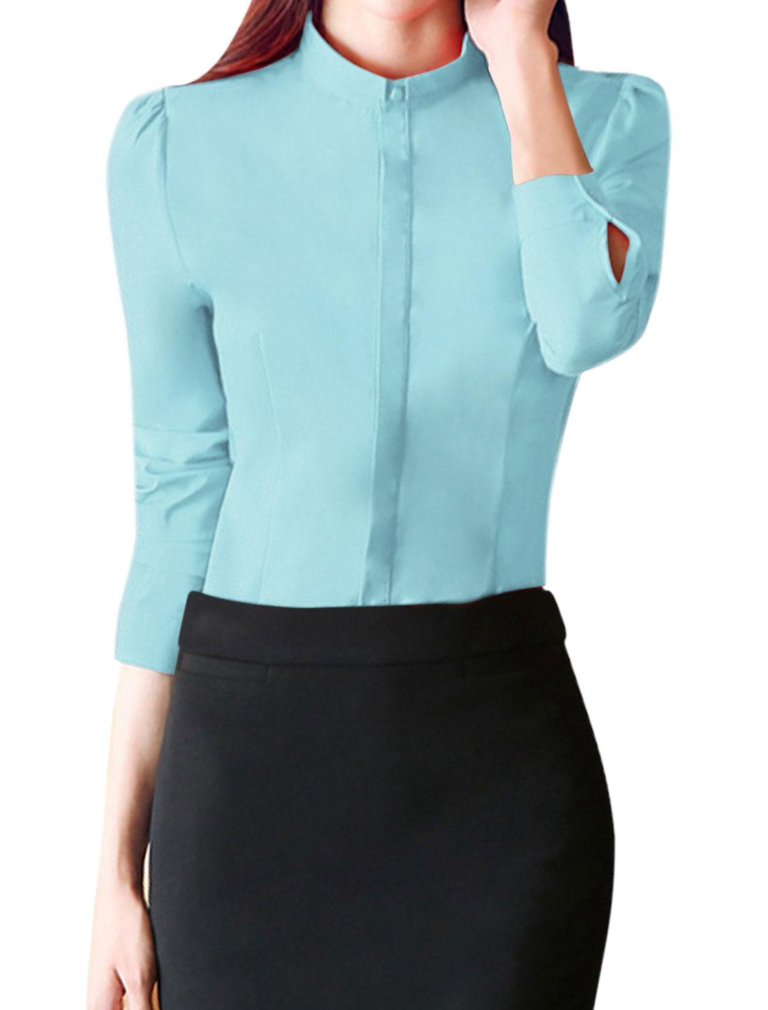 Women Turn Down Collar Single Breasted Slim Fit Shirt Blue L