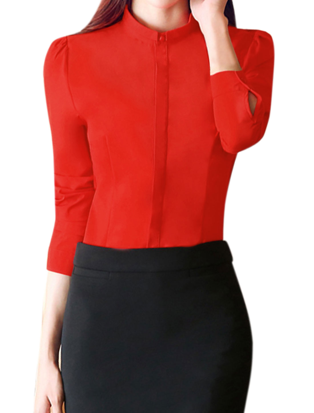 Women Turn Down Collar Single Breasted Slim Fit Shirt Red L