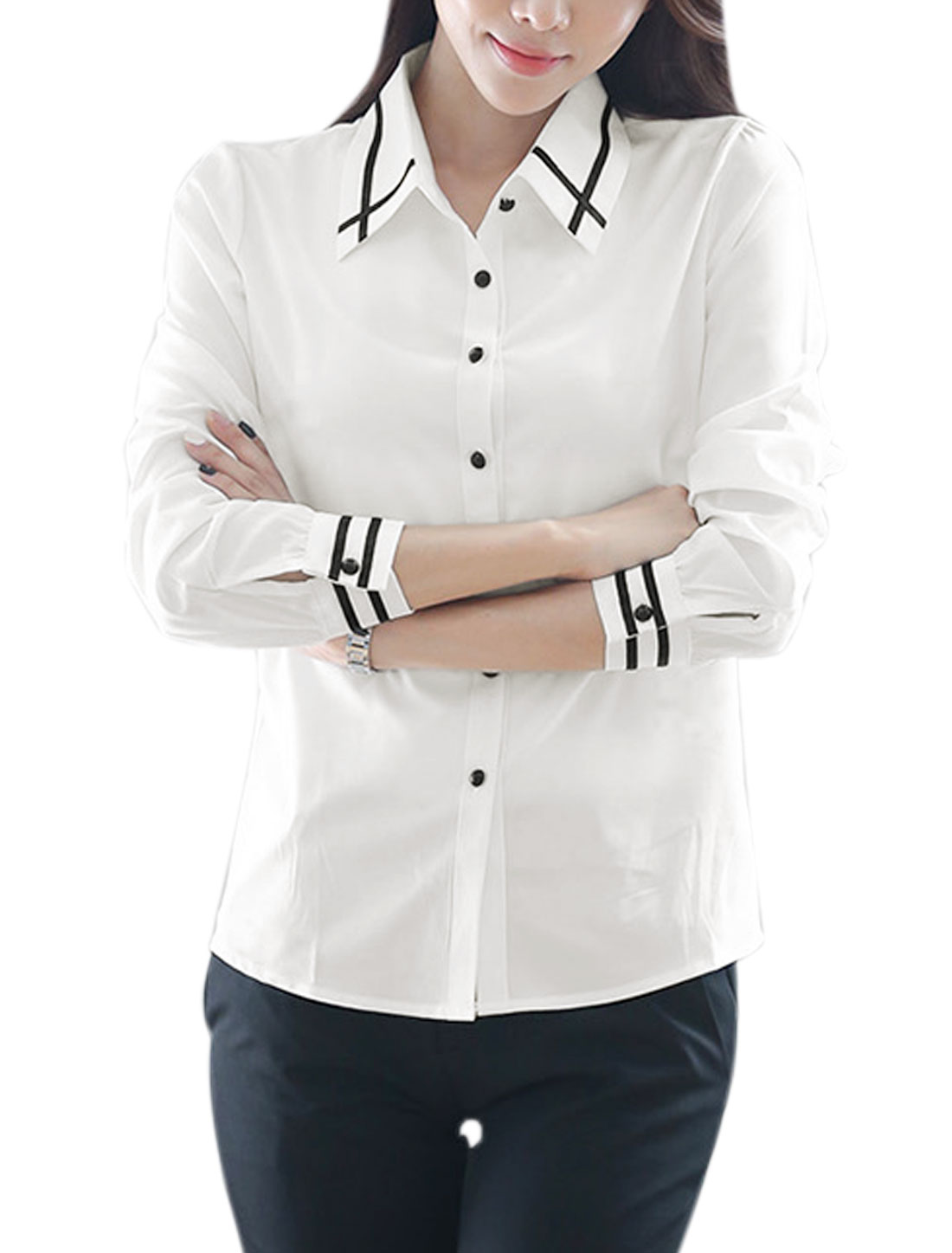 Women Point Collar Buttoned Stripes Stitched Casual Shirt White M