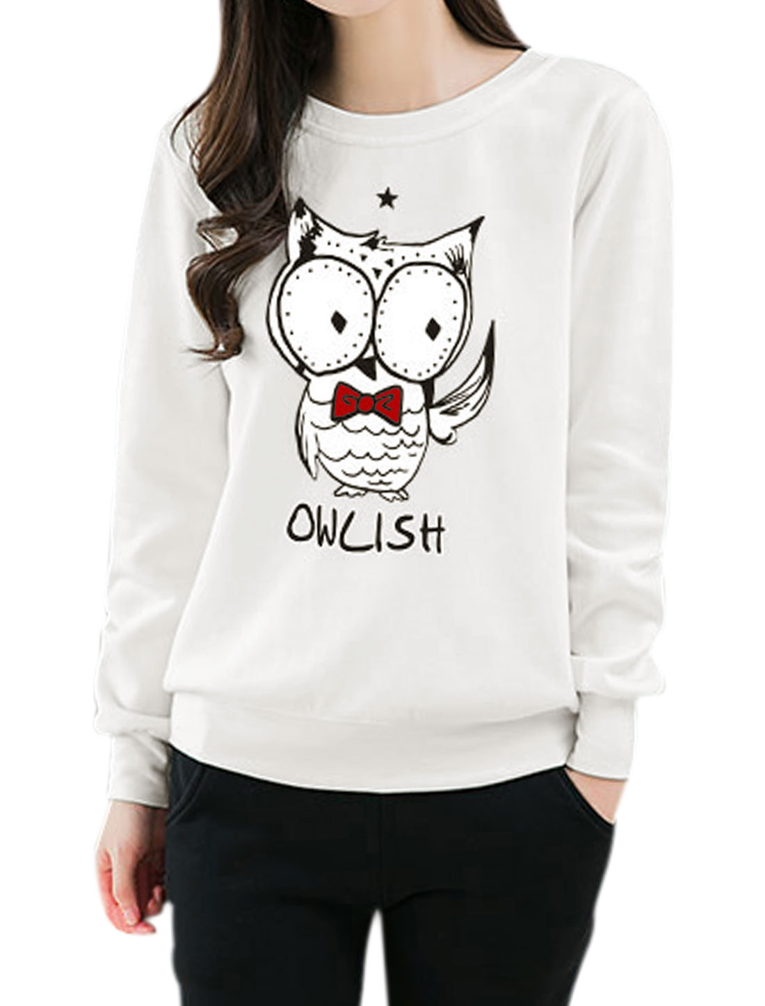 Women Star Detail Long Sleeves Letters Owl Sweatshirt White S