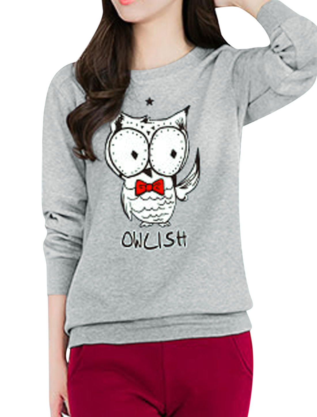 Women Star Detail Long Sleeves Letters Owl Sweatshirt Gray S