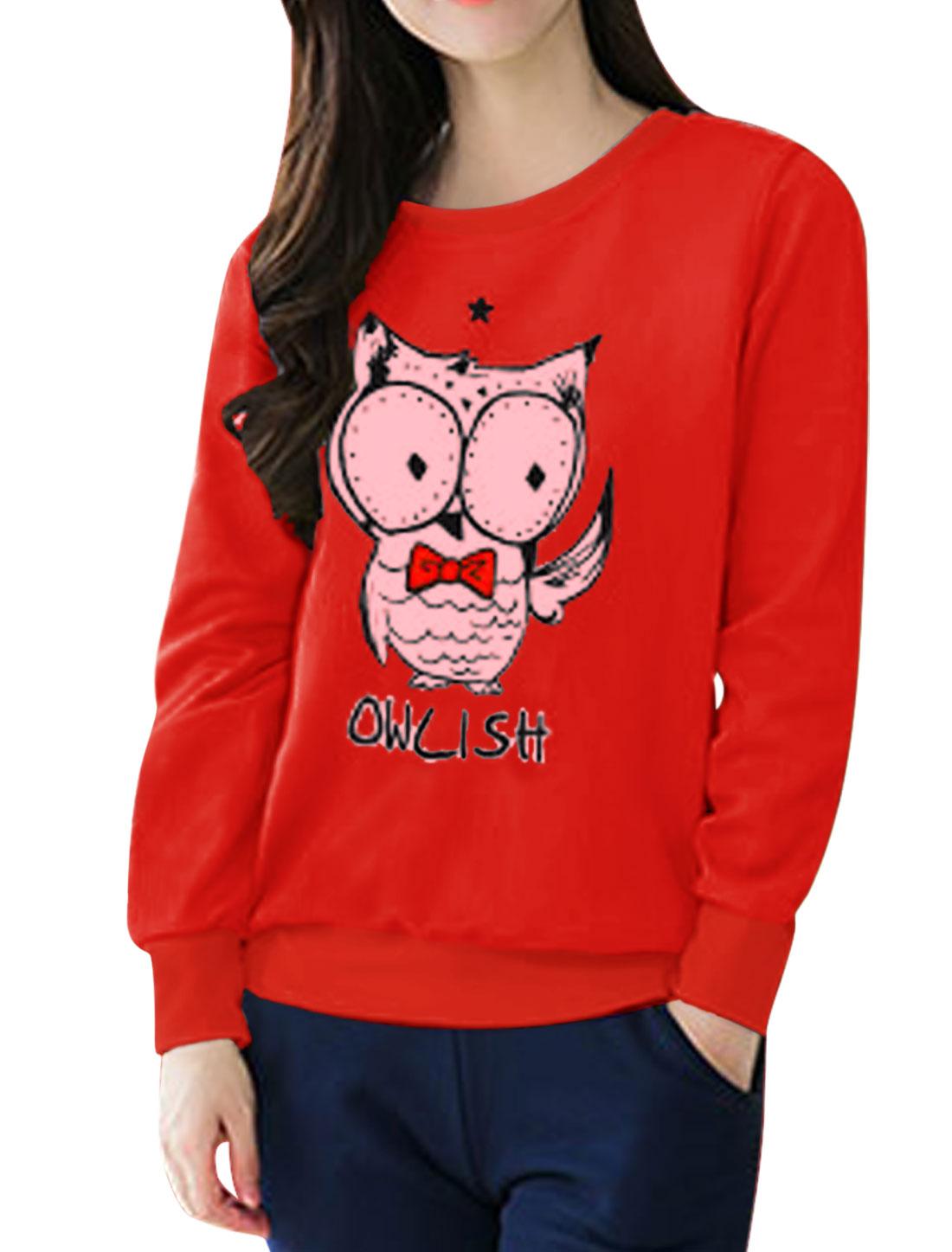 Women Star Detail Long Sleeves Letters Owl Sweatshirt Red S