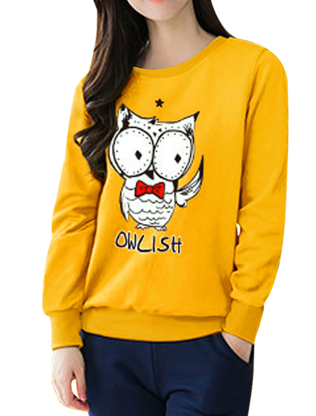 Women Star Detail Long Sleeves Letters Owl Sweatshirt Yellow S
