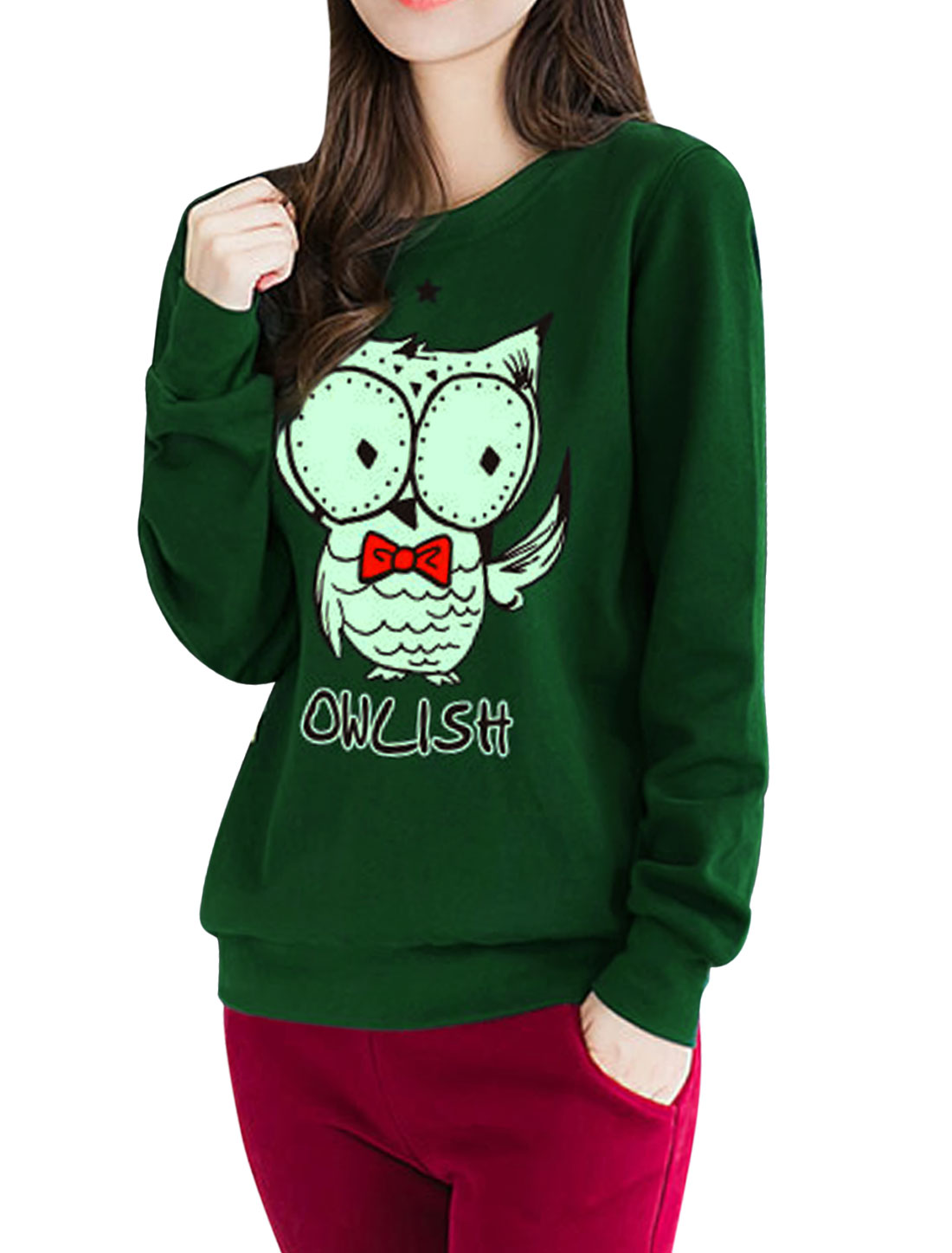 Women Star Detail Long Sleeves Letters Owl Sweatshirt Green S