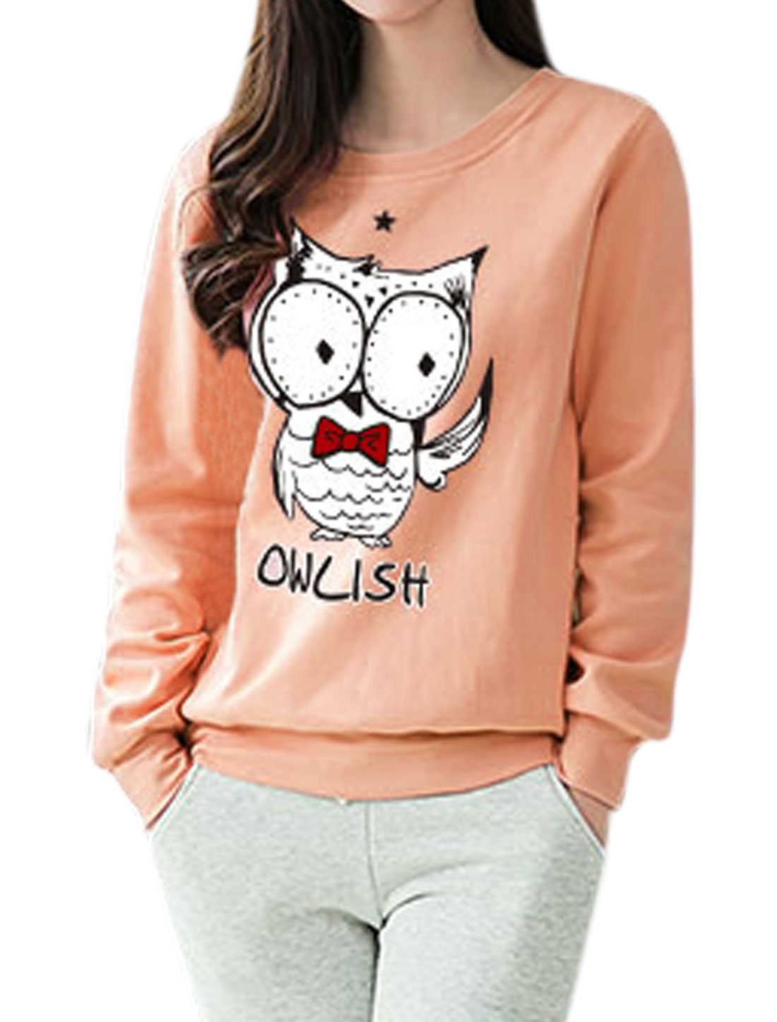 Women Star Detail Long Sleeves Letters Owl Sweatshirt Pink S