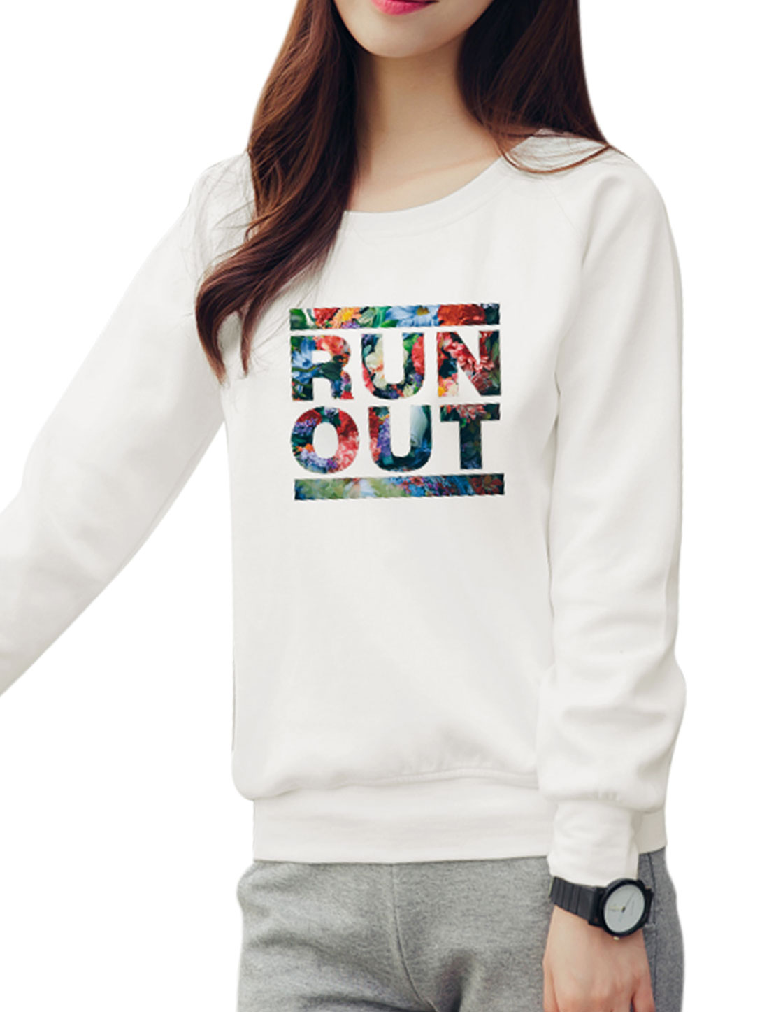 Women Raglan Sleeves Slant Pockets Floral Letters Sweatshirt White S