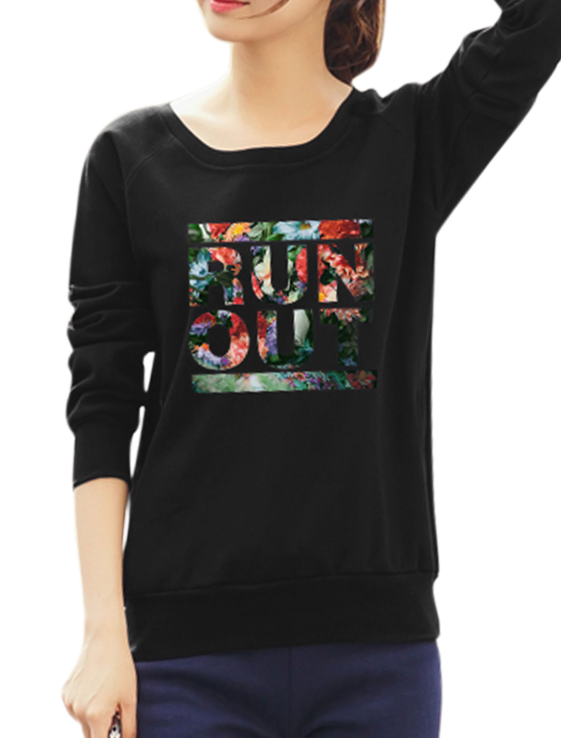 Women Raglan Sleeves Slant Pockets Floral Letters Sweatshirt Black S
