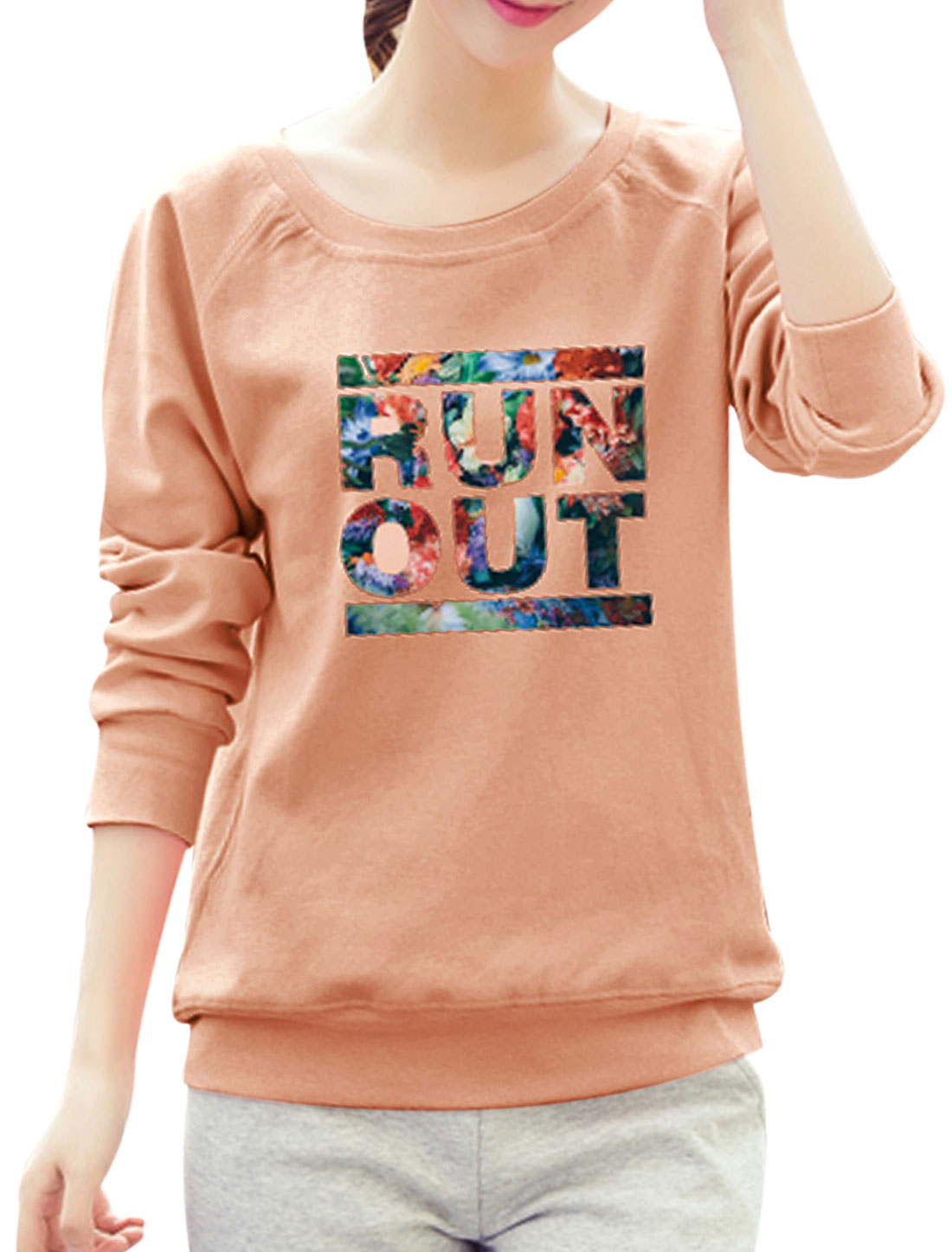 Women Raglan Sleeves Slant Pockets Floral Letters Sweatshirt Pink S