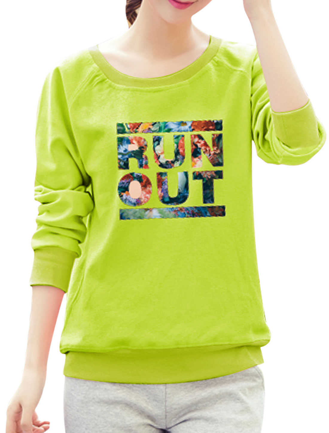 Women Raglan Sleeves Slant Pockets Floral Letters Sweatshirt Green S