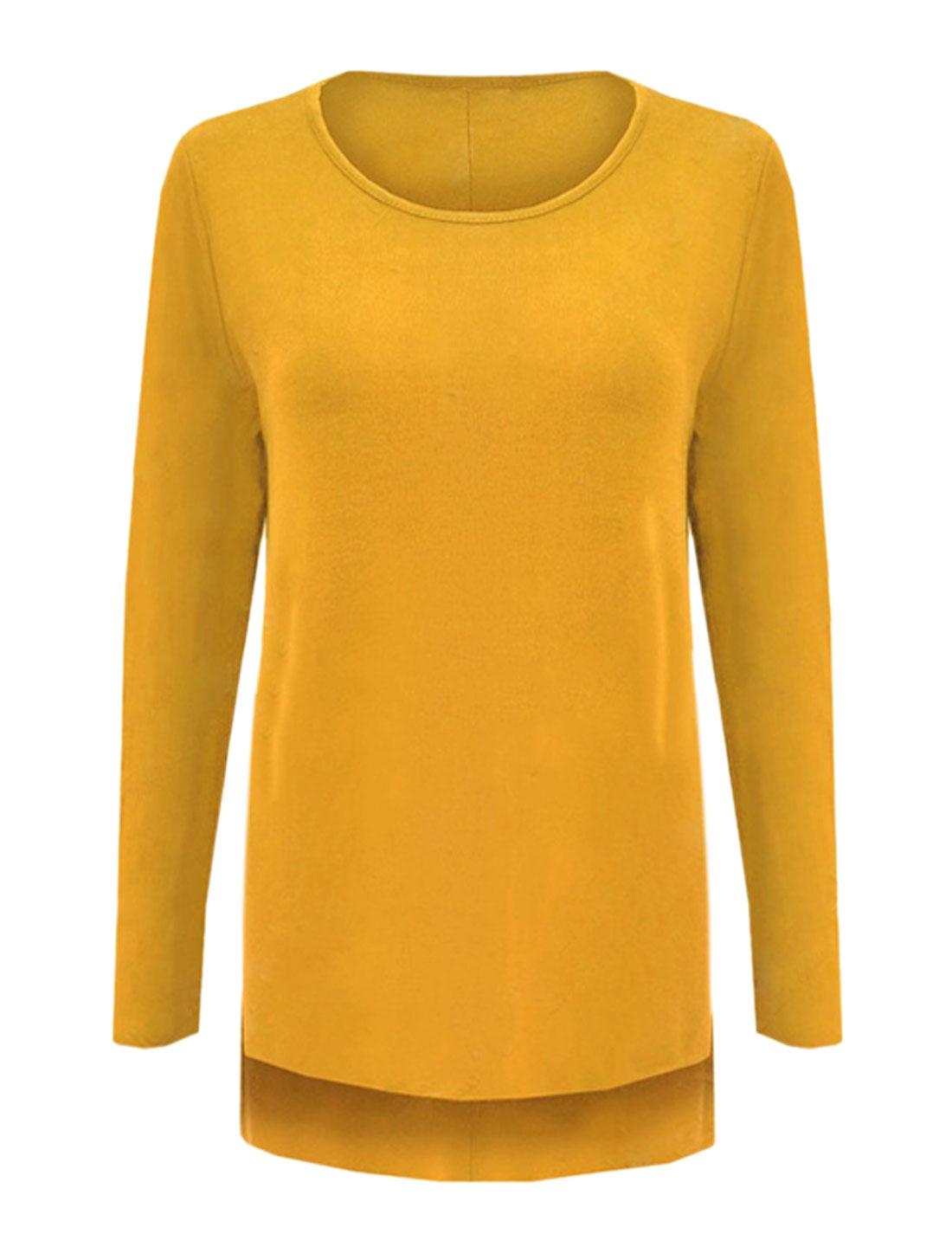 Ladies Round Neck High Low Hem Split Sides Loose Tunic Top Yellow M