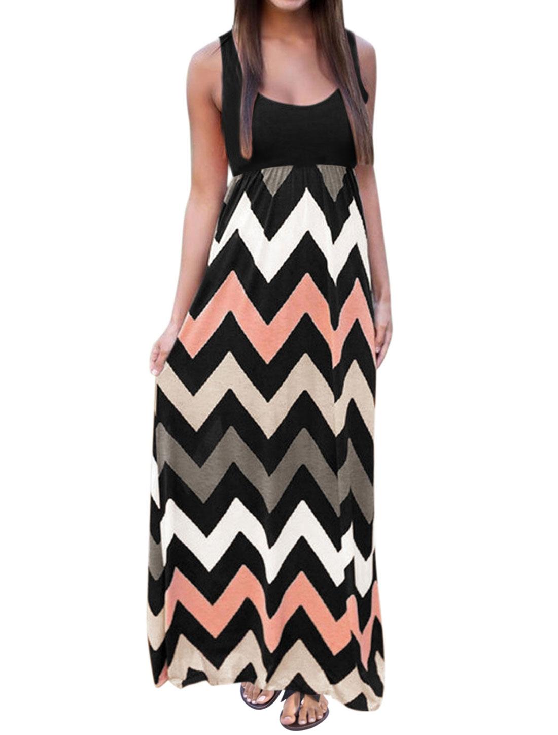 Women Sleeveless Scoop Neck Empire Waist Chevron Maxi Dress Black L