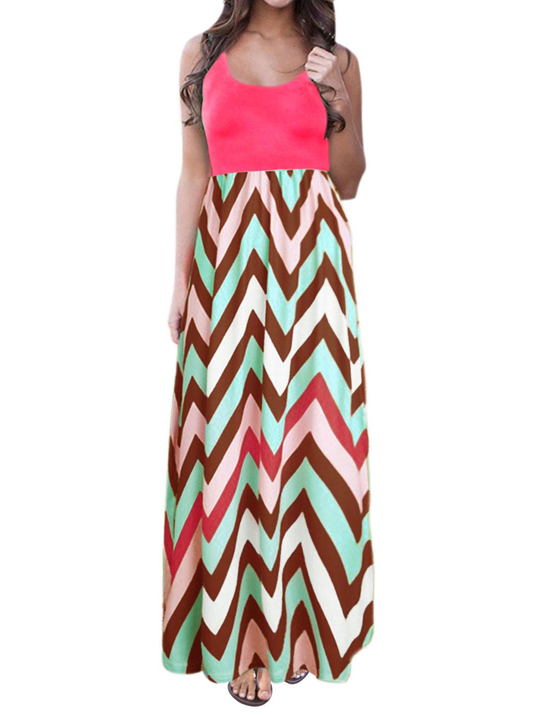 Women Sleeveless Scoop Neck Empire Waist Chevron Maxi Dress Hot Pink L