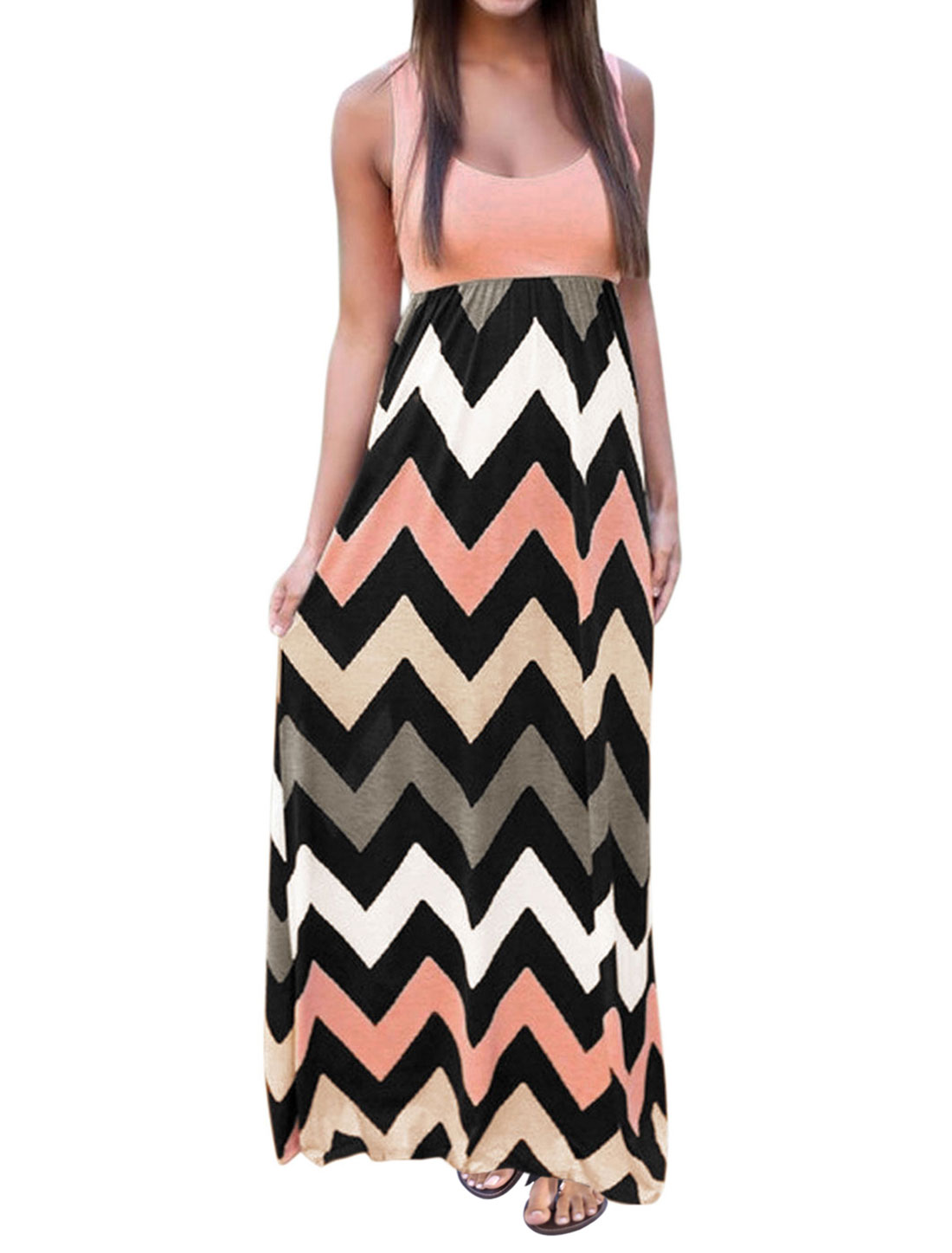Women Sleeveless Scoop Neck Empire Waist Chevron Maxi Dress Pale Pink L