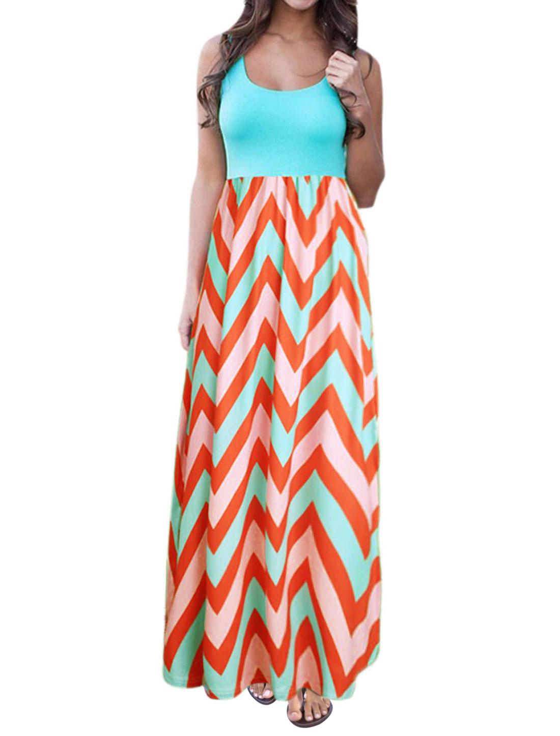 Women Sleeveless Scoop Neck Empire Waist Chevron Maxi Dress Light Blue L