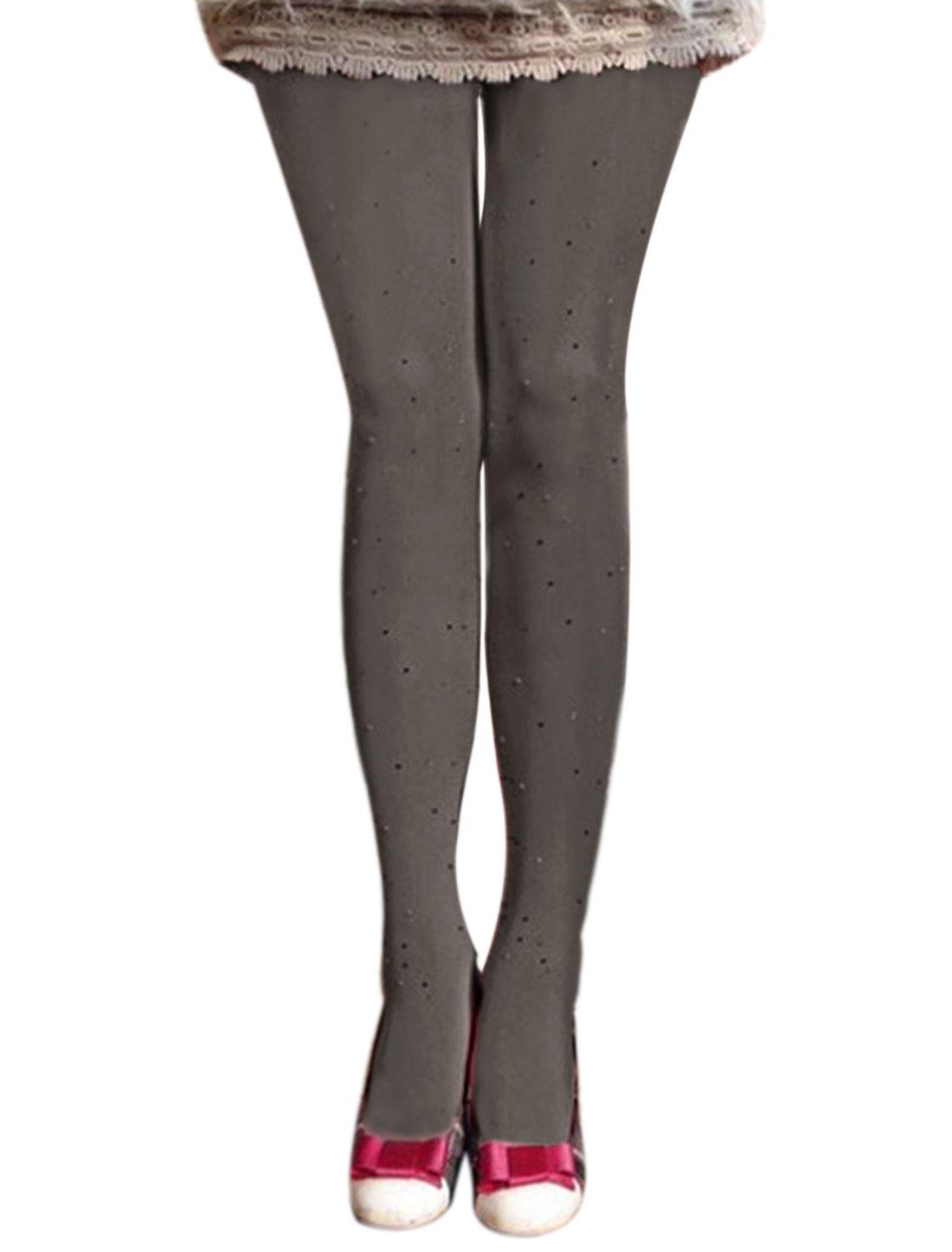Women Beaded Rhinestone Embellished Thin Pantyhose Gray XS