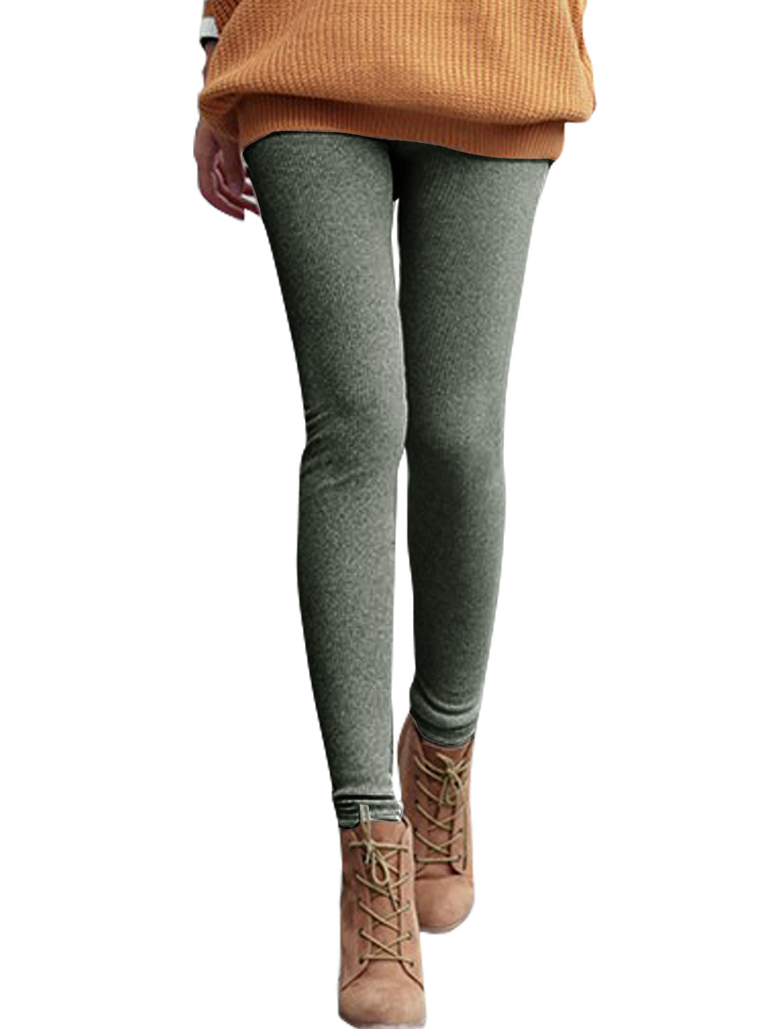 Women High Rise Soft Lined Skinny Ribbed Leggings Dark Gray XS