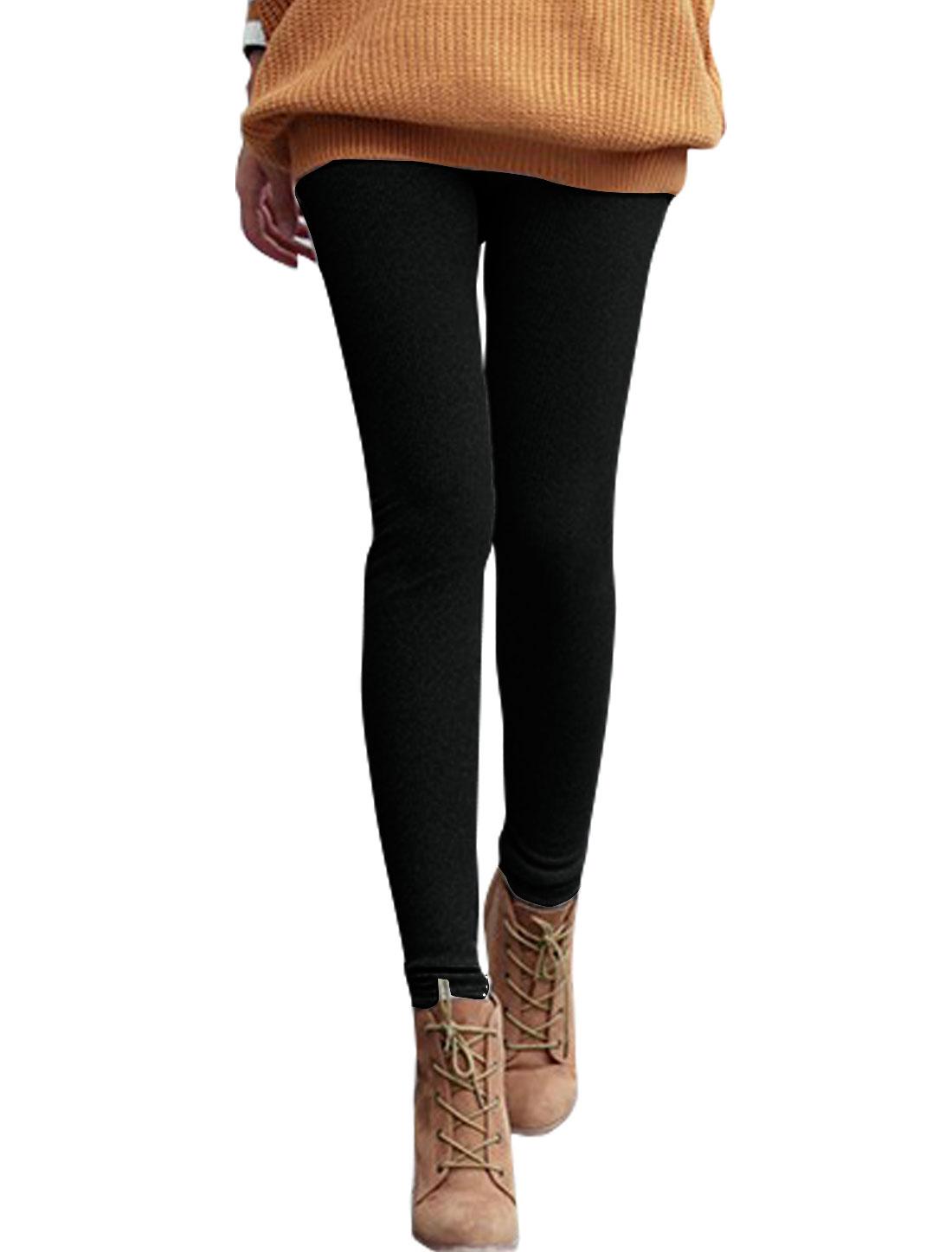 Women High Rise Soft Lined Skinny Ribbed Leggings Black XS
