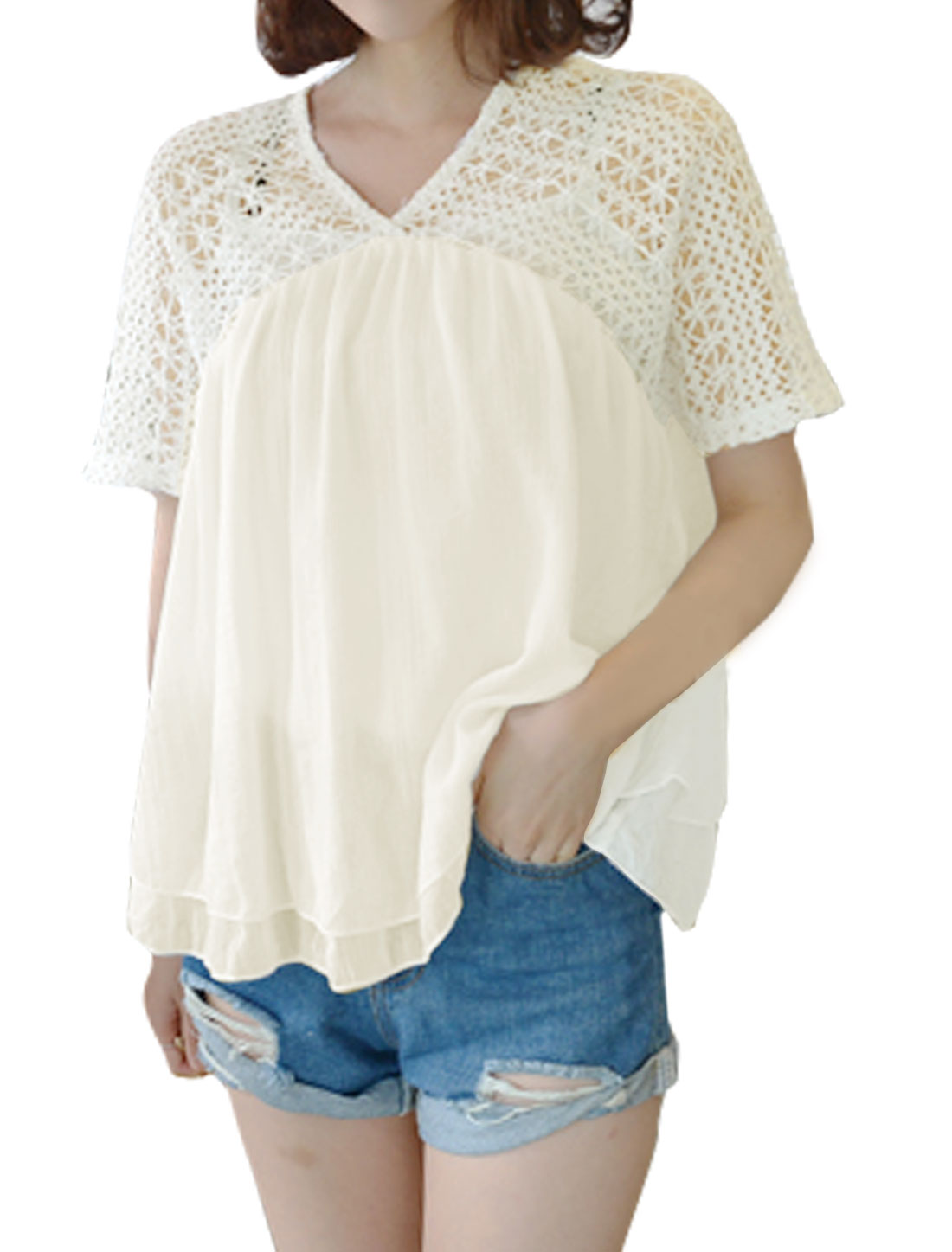 Women V Neck Crochet Semi Sheer Layered Loose Blouse White XS