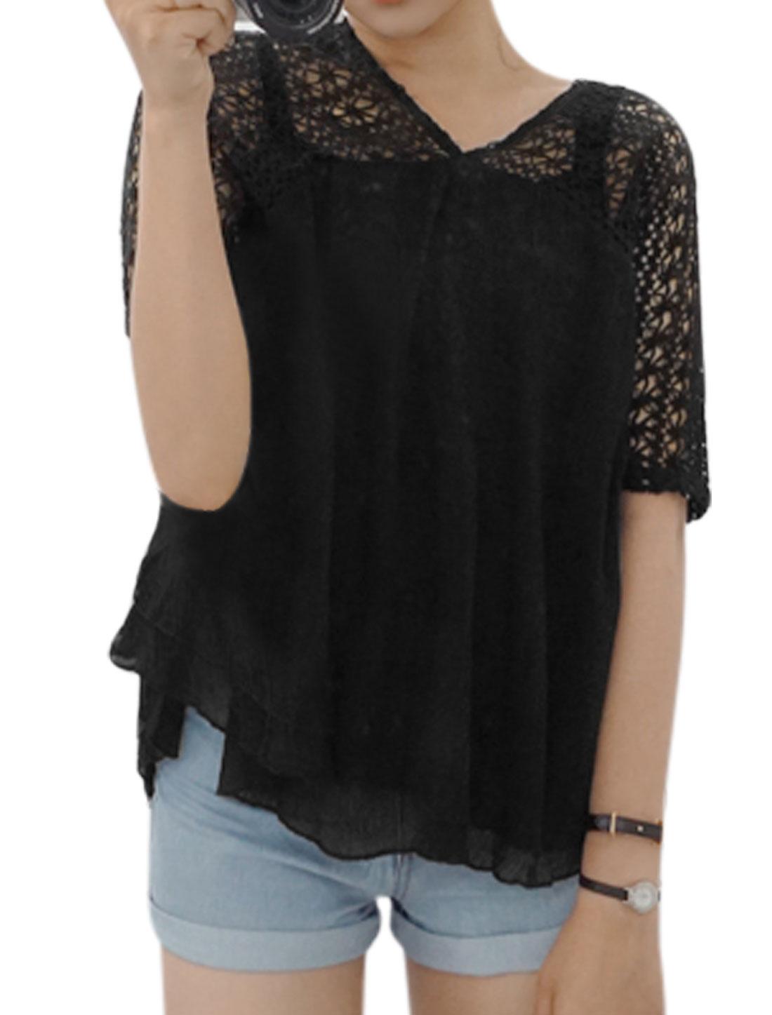Women V Neck Crochet Semi Sheer Layered Loose Blouse Black XS