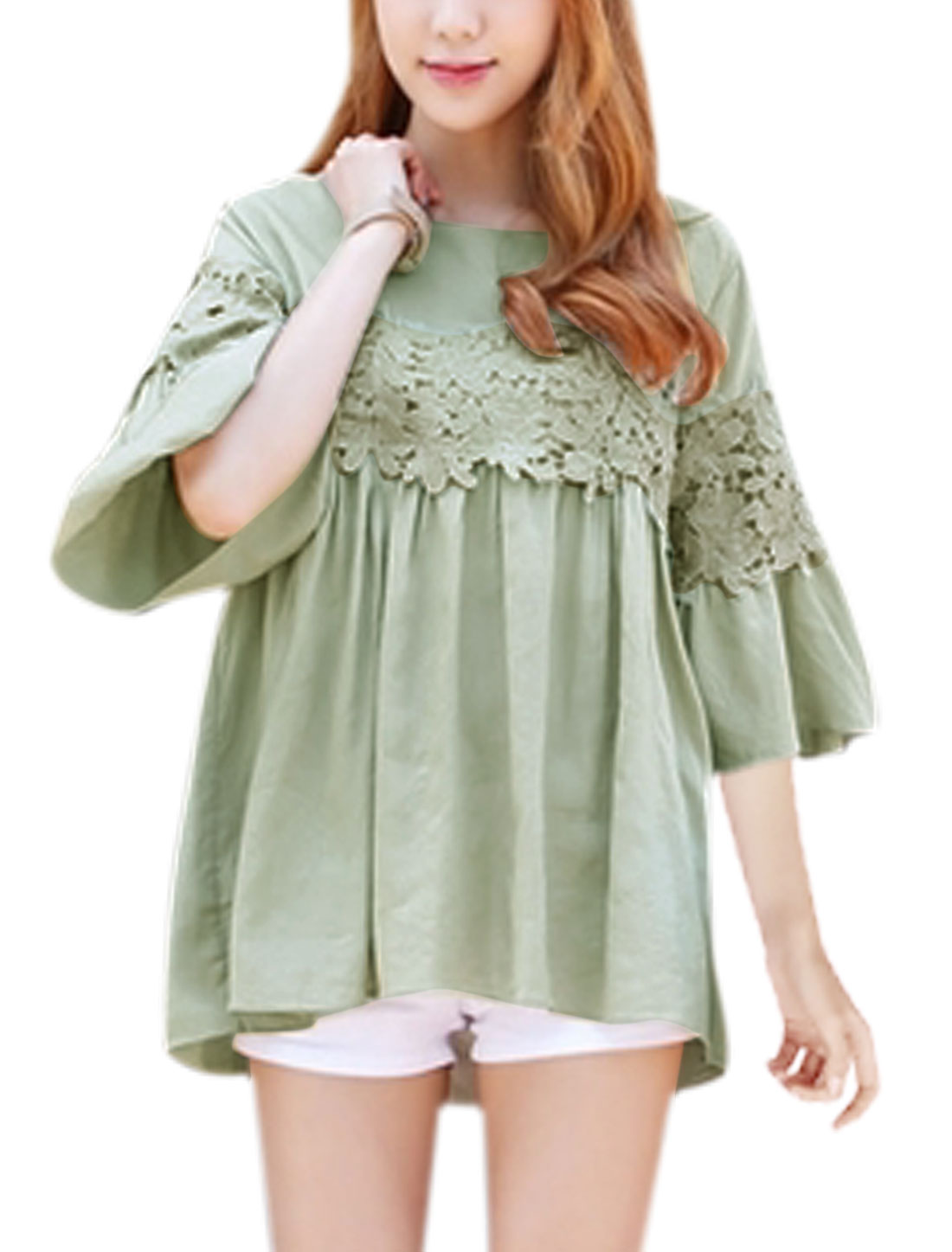 Women Bell Sleeves Crochet Stitched Loose Tunic Blouse Green XS