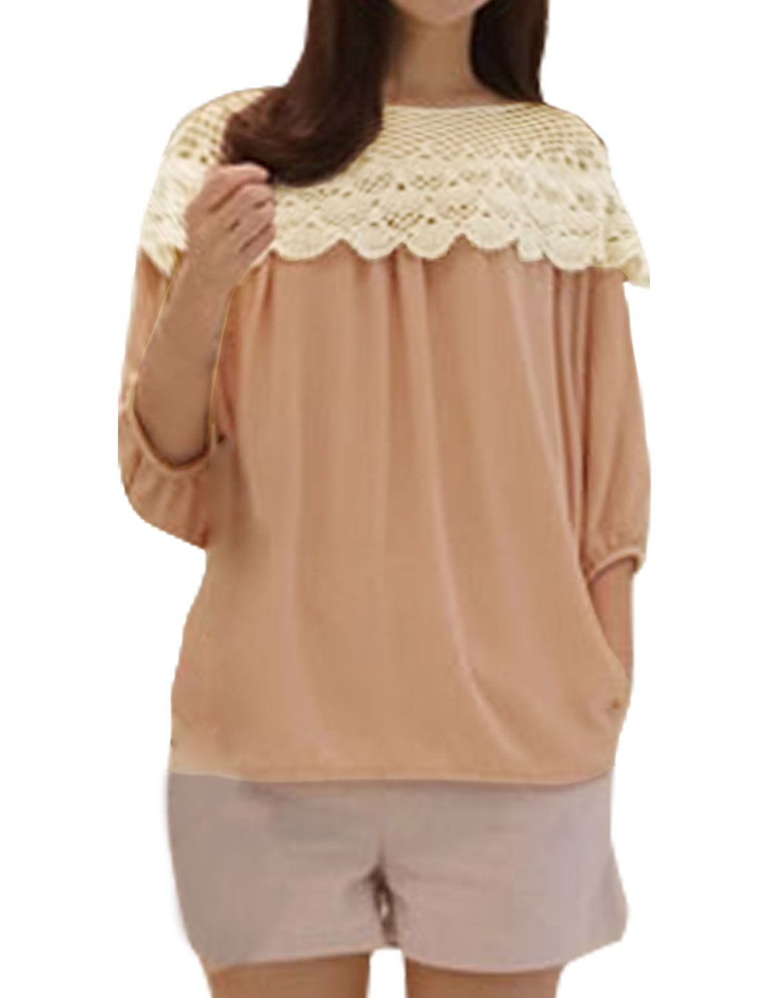 Women Boat Neck Crochet Panel Layered Loose Blouse Pink S