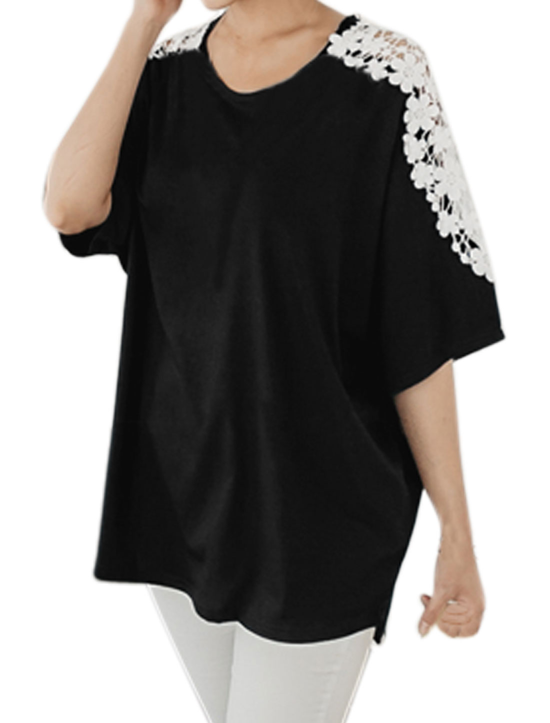 Women Batwing Sleeves Crochet Panel Loose Tunic Blouse Black XS