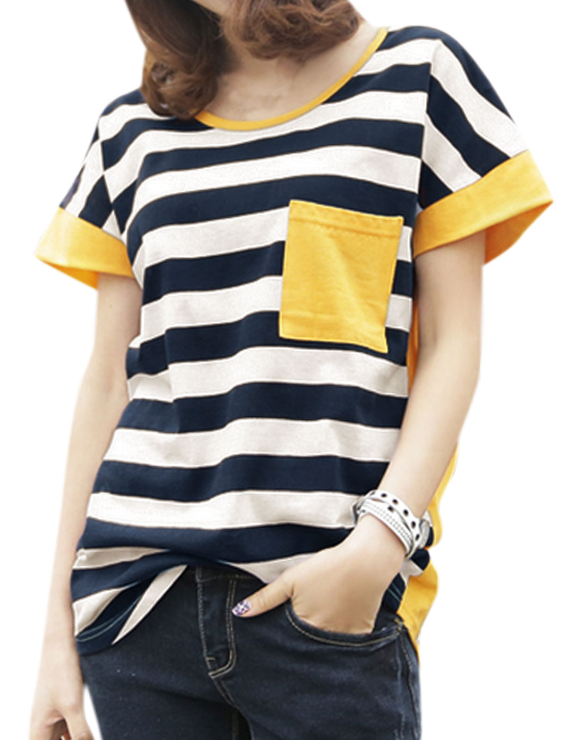Women Chest Pocket Color Block Loose Striped Tee Yellow XS