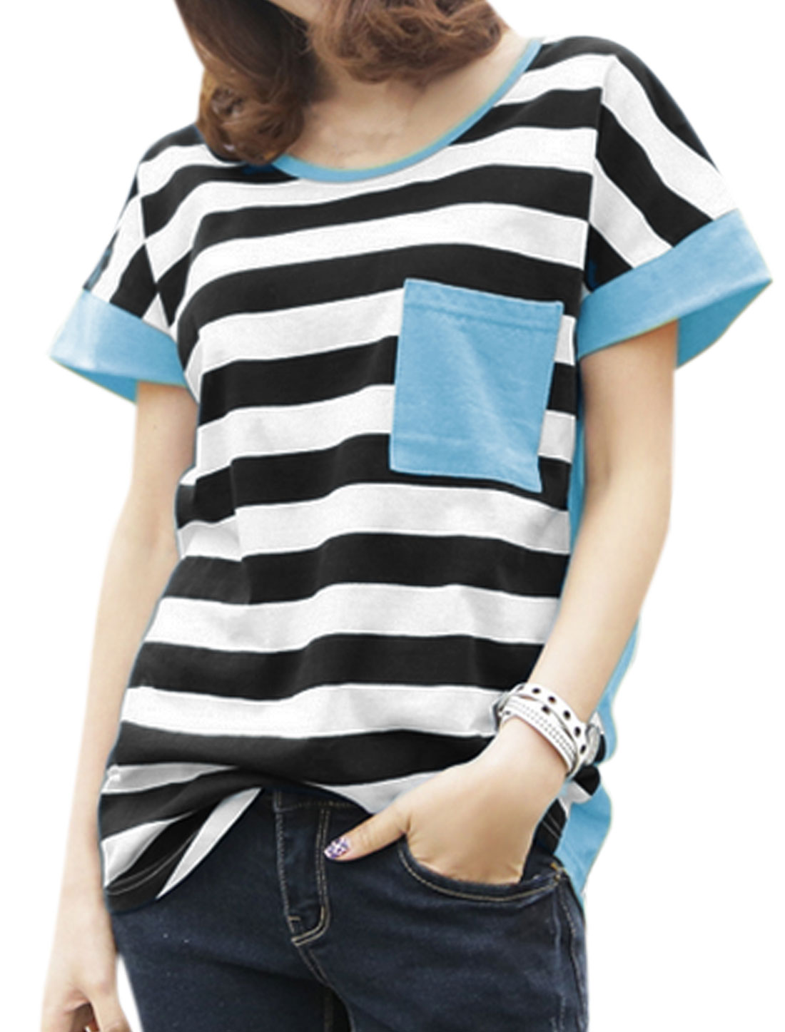 Women Chest Pocket Color Block Loose Striped Tee Blue XS