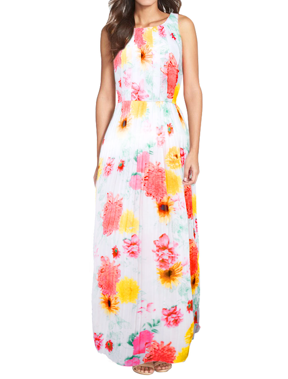 Women Round Neck Sleeveless Flower Pleated Maxi Dress White L