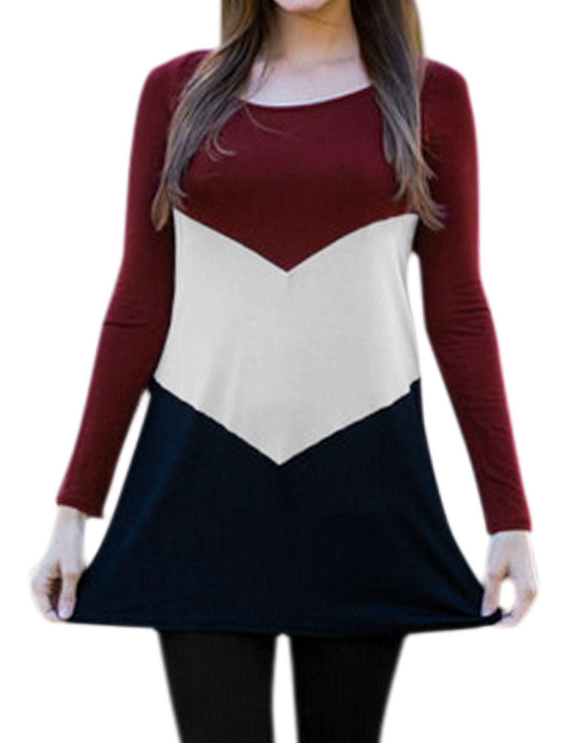 Women Round Neck Long SLeeves Contrast Color Tunic Top Red S
