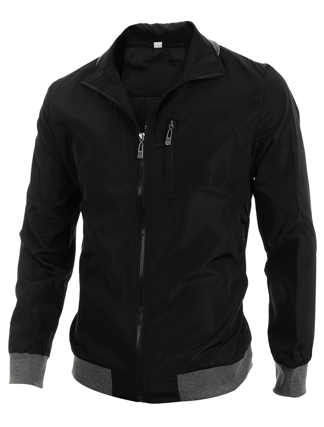 Men Convertible Collar Zipper Two Pockets Slim Fit Jacket Black L