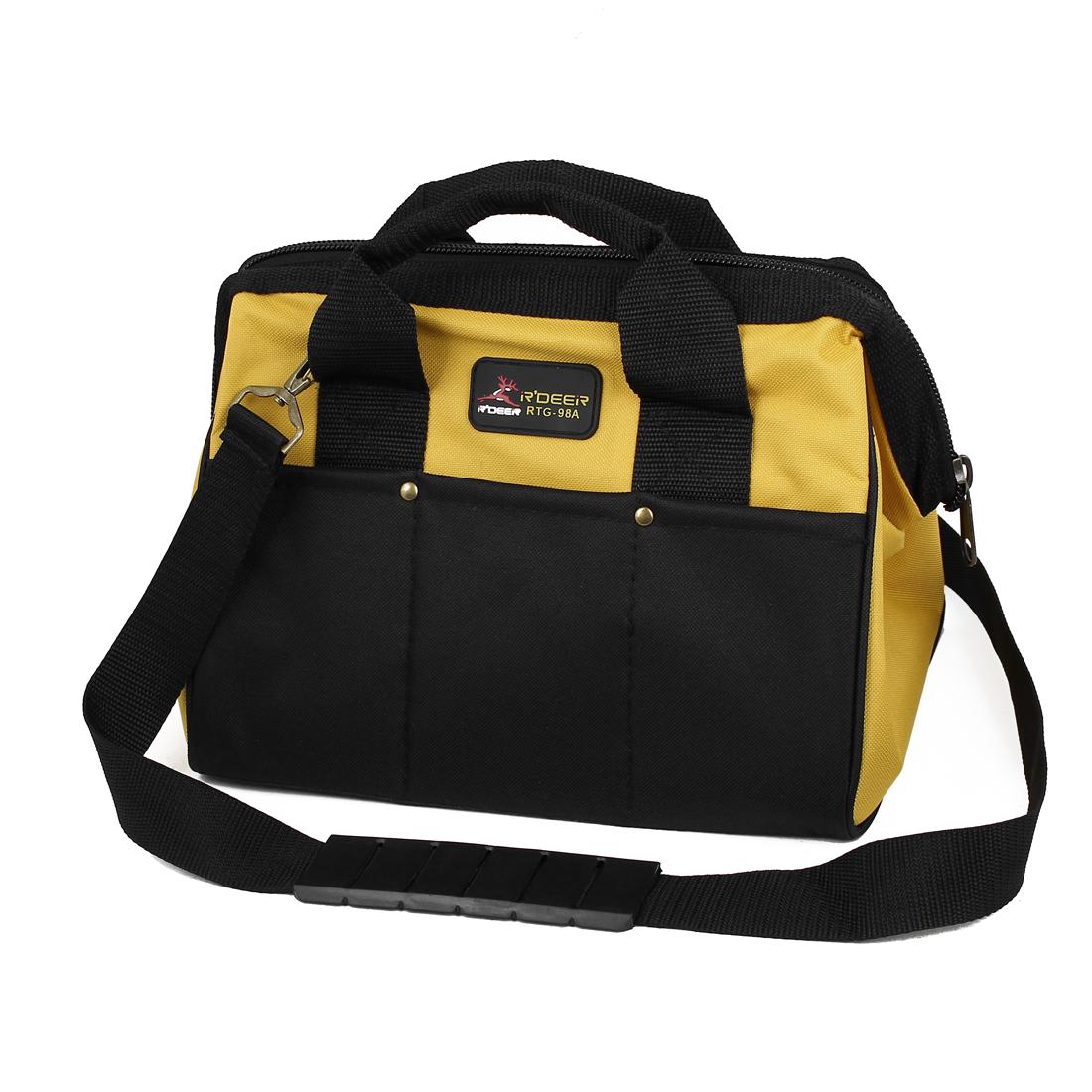 "Black Yellow Zipper Closure Nylon Mechanics Electrician Tool Holder Hand Bag 16"" x 10"""