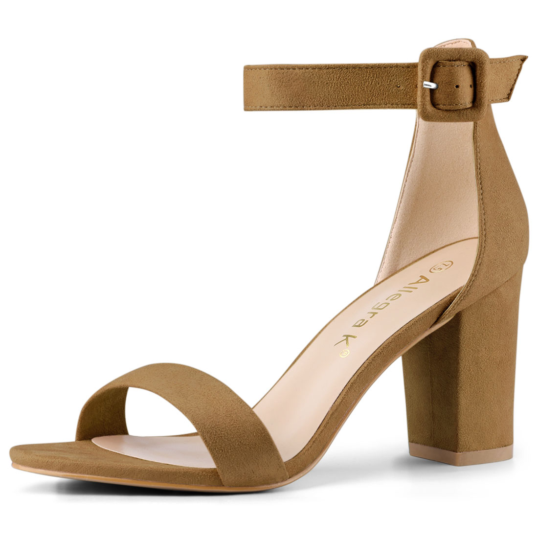 Woman Open Toe Chunky High Heel Ankle Strap Sandals Camel US 7.5